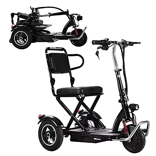 Scooters Eléctricos Plegables De 3 Ruedas, Ligeros Portátiles Eléctricos Para Sillas De Ruedas Patinetes De Movilidad Compactos Con Asiento Para Adultos Ancianos Y Discapacitados (48V8AH/30KM,Negro)