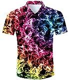 TUONROAD Camisas de Hombre 3D Humo Colores Funny Camisas de Playa Manga Corta Verano Casual Camisas Hawaiana XXL