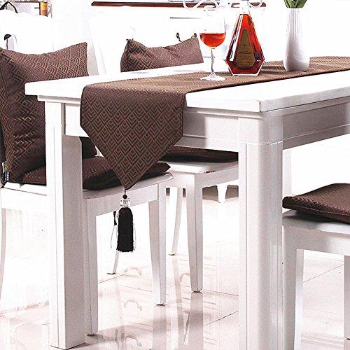 Chemin de Table Handmade Nappes Anti-Tache Lavable Européen Style Banquet Party Multi-Usages Décoration LAD-I , brown , 35*200cm