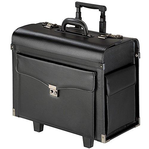 tectake® Pilotenkoffer Aktenkoffer Businesskoffer Reisekoffer Trolley mit Rollen schwarz