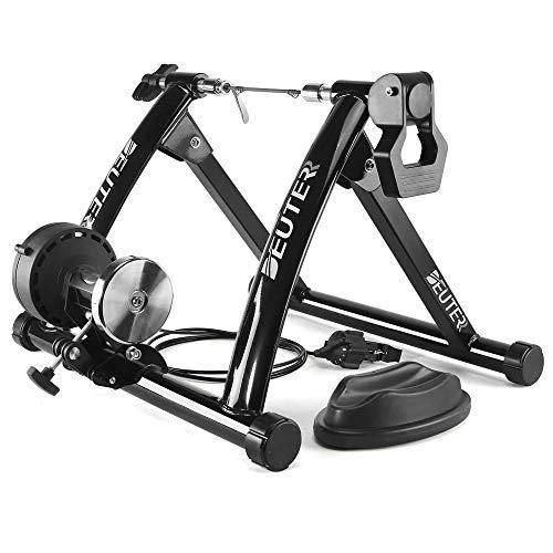 XLBD Fahrrad Rollentrainer Faltbar Cycletrainer inkl.Vorderradstütze und Schaltung mit 6 Gänge Für 26-28 Zoll Mountainbike/Rennrad bis zu 135 Kg Belastbar,Black