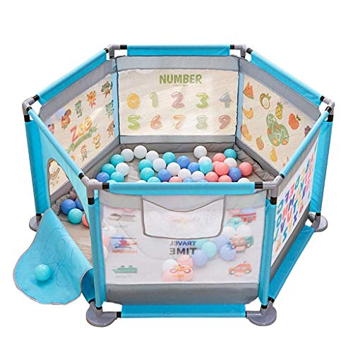 playpens for toddlers, 124x66cm Tents Infant Puzzle Playpens with Soft Mat Children's Playground Hexagon Ball Pool Activity Play Area Fence Nursery Furniture - Blue