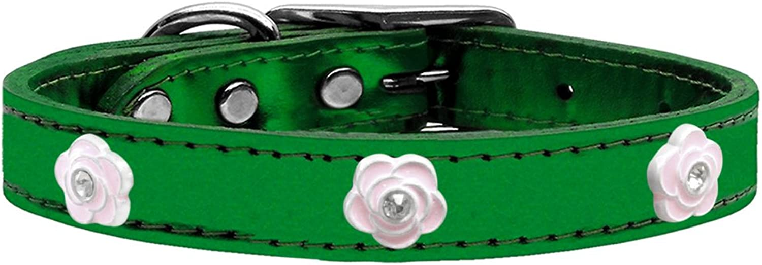 Mirage Pet Products Light Pink Rose Widget Genuine Metallic Leather Collar, Emerald Green, Size 22