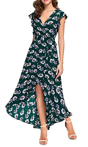 GRECERELLE Women's Summer Floral Print Cross V Neck Dress Bohemian Flowy Long Maxi Dresses Green-M