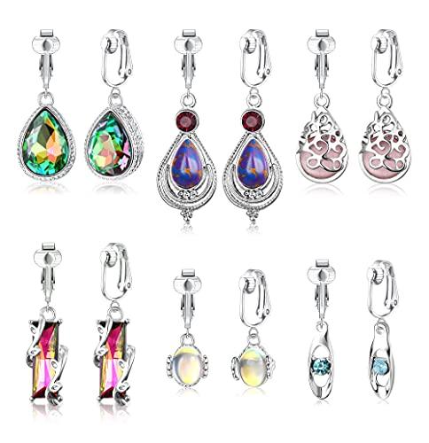 Adramata 6 Pares Arete Colgante Pendientes Para Mujer Antialérgicos, Con Cristales De Colores Pendientes De Mujer, Aretes Acero Inoxidable ,Conjunto Clip De Oreja