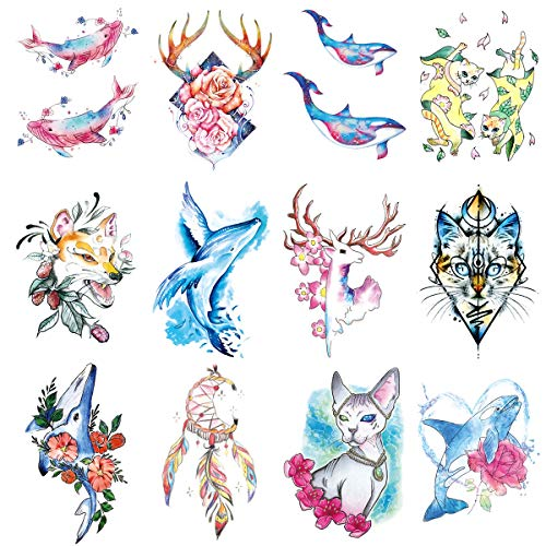 Oottati 12 Pieces Arm Pink Blue Whale Deer Canadian Hairless Cat Fox Moon Dream Catcher Temporary Tattoo