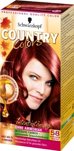SCHWARZKOPF COUNTRY COLORS Intensiv-Tönung 58 Grand Canyon Granatrot, Stufe 2, 3er Pack (3 x 123 ml)