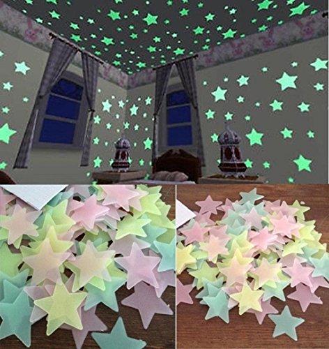 LuckES DIY Pegatinas de Pared de Vinilo Removible,Pegatinas vibrantes estrellas fluorescentes para pared pared Tatuajes adhesivos decorativos pared para habitación de los Niños
