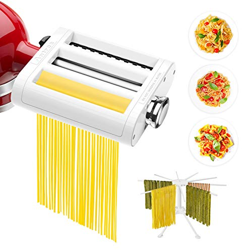 ANTREE 3 in 1 Pasta Roller And Pasta Cutter Attachment For KitchenAid Stand Mixers Included Cleaning Brush And Pasta Drying Rack