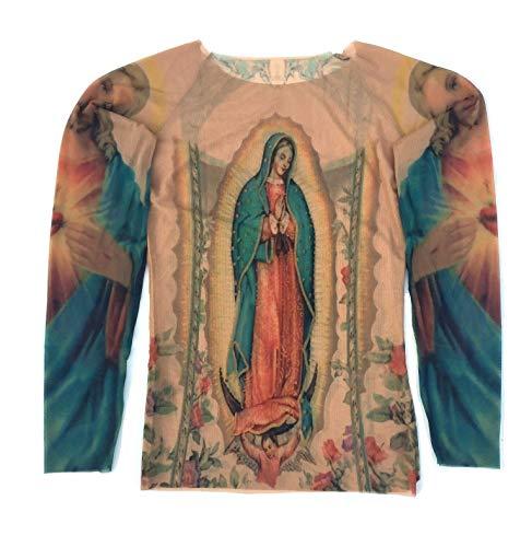 Wild Rose Damen Guadalupe Tattoo Shirt Mutter Maria Heiliges Herz Jesus Tattoos - Braun - X-Klein