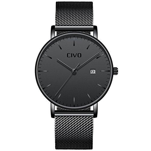 CIVO Relojes para Hombres Ultra Fino Minimalista Reloj de Pulsera Caballeros Reloj Impermeable Fecha Calendario Relojes con Banda Negro de Malla de Acero Inoxidable (Negro)