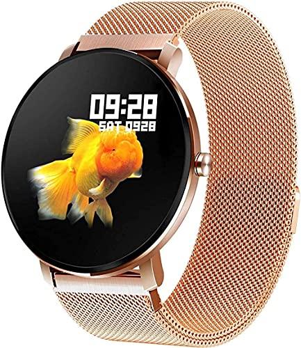 GPWDSN Pulsera de Fitness Dorada Reloj Inteligente con Pantalla táctil Completa IP68 Análisis del sueño a Prueba de Agua Contador de calorías Podómetro Rastreador de Actividad Recordatorio de