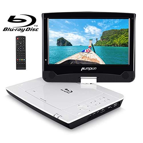 Pumpkin lettore dvd portatile blu ray per auto e casa, schermo da 10.1 pollici, supporto HD 1080P blu-ray dischi, usb/ HDMI/ scheda SD/ MMC, av-in/ av-out, 18 mesi di garanzia