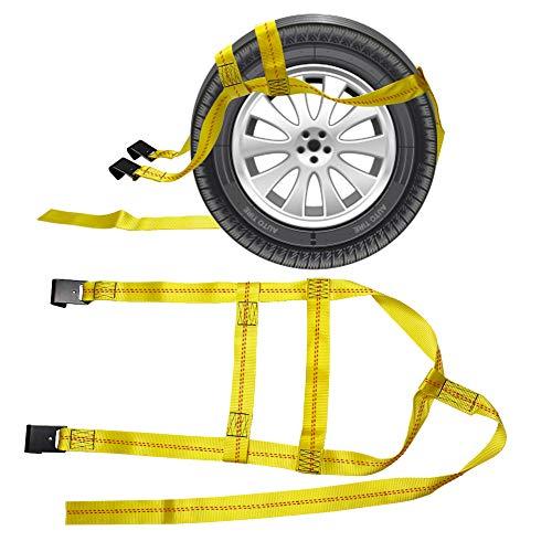 CarBole Heavy Duty Trekhaak, verstelbare auto mand ratel riemen Tie-Down touw riem met platte haken voor auto Hauler Truck 4x4 Off Road, 2 Pack