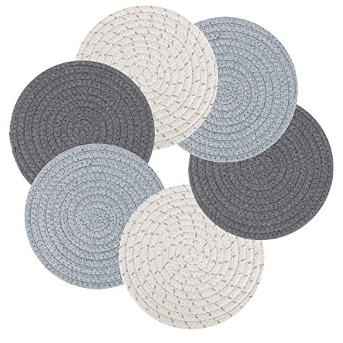 """Vilike Pot Holders Set Trivets Set for Kitchen, 100% Pure Cotton [ Thermal Isolated & Highly Absorbent ], 7"""" Hot Pot Holders Set ( Value 6 Pack ), Hot Pads, Hot Mats, Spoon Rest For Cooking and Baking"""