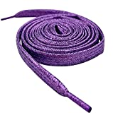 47' / 120cm Purple Flat Metallic Sparkle Glitter Smart Laces Shoe laces, Ideal Shoelaces for Kids Girls Childrens & Womens Converse, Nike, Adidas, Vans Sneakers