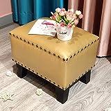 ZCRR Puf tapizado cubo otomano, reposapiés de cuero cuadrado de madera maciza para sala de estar, mesa de café pequeña (tamaño: 36 x 26 x 30 cm), color: S)