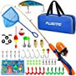 PLUSINNO Kids Fishing Pole,Portable Telescopic Fishing Rod and Reel with Fishing Net (Orange Handle with Net, 120cm 47.24In)