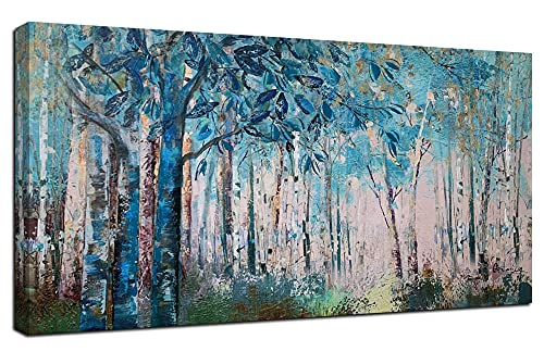 Ardemy Canvas Wall Art Blue Tree Forest Landscape Picture Prints, Modern Birch Trees Nature Woods 48'x24' Large Abstract Artwork Framed Ready to Hang for Home Office Living Room Bedroom Wall Decor