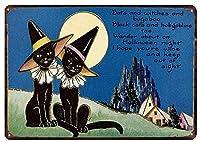 屋内と屋外のホームバーコーヒーキッチンの壁の装飾のための黒猫ヴィンテージスタイルの金属サイン鉄の絵8X12インチ