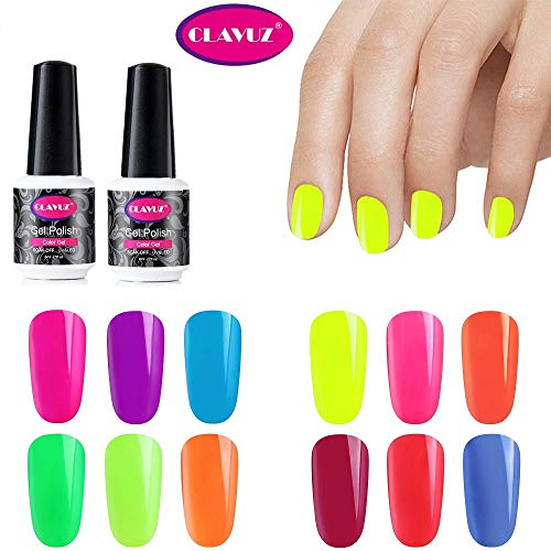 CLAVUZ Smalto per Unghie in Caramella Fluorescente Neon Luminoso Nail Soak off UV LED Romantico Gel Semipermanente per Unghie Manicure Arte Set Kit da 12pzs 8ml