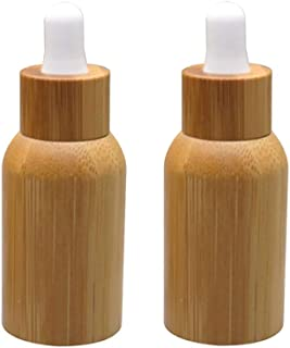 2 Pack 10ml/0.34oz Bamboo Glass Dropper Bottle For Essential Oils,Amber Glass Eye Dropper Bottle With Glass Pipettes&Natur...