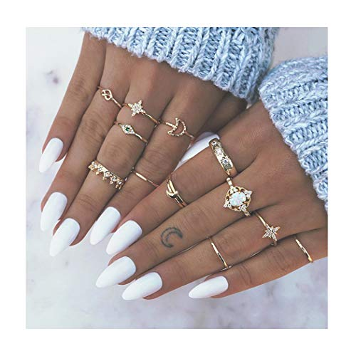 Edary Boho Rings Set Gemstone Joint Knuckle Ring Set Vintage Mid Rings for Women and Girls. (1)