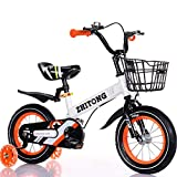 Hokaime Bicicleta para niños Bicicleta para niños Ultraligera con Ruedas de Entrenamiento Bicicleta para niños de Acero de Alto Carbono 12/14/16/18 Pulgadas Bicicleta para niños, 16 Pulgadas, Blanca