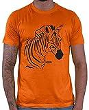 Hariz - Camiseta para hombre con diseño de cebra y animales de la selva, incluye tarjeta de regalo naranja XXL