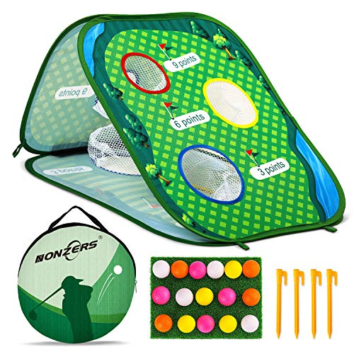 NONZERS Golf Cornhole Game Set, Pop Up Golf Chipping Net, Golf Target for Swing Practice with 16 Training Foam Balls and Storage Bag