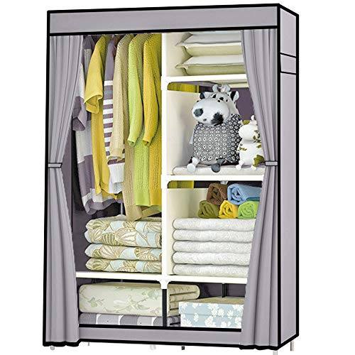 Just Home Rack & Pack Closet Armable Ropero Armario Guardaropa Organizador Multifuncional Portatil Resistente Estable Multipractica 6 Entrepaños 165x105x45cm Color Gris