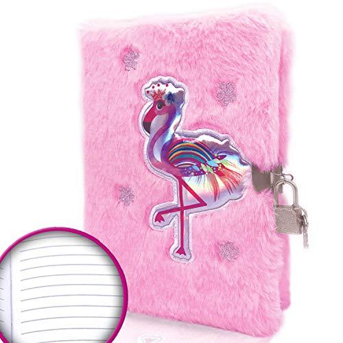EverCreatives Flamingo Fuzzy Girls Tagebuch mit Schloss und Schlüssel, rosa Kinder Plüsch Tagebuch flauschiges Schreiben Notizbuch in A5 21,6 x 14,9 cm, 160 linierte Seiten für Schulbedarf