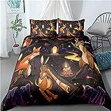 Un cuento de hadas de cama de la cubierta del Duvet floral 3D para niños niñas de belleza Impreso de cama cubierta del edredón con la cremallera Ligero microfibra Decoración,G,230x220cm