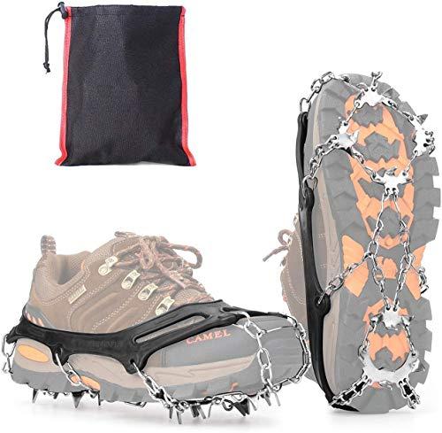 Vdealen Steigeisen für Stiefel Schuhe 19 Edelstahl Spikes, Anti-Rutsch Winter Schuhkrallen für Schnee und EIS, Damen Herren Grödel Spikes für Wandern Klettern Angeln (L)
