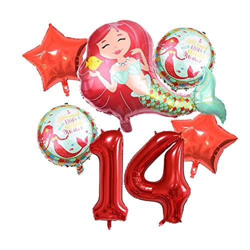 XIAOZSM Globos Globos de lámina de sirpea púrpura roja con número de dígitos de 40 Pulgadas Helio Globo Dibujos Animados Globos Decoraciones de Fiesta de cumpleaños niños o Adultos ( Farbe : Red 14 )