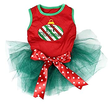Petitebella My 1st Christmas Decoration Puppy Dog Dress  Red/Teal Green XXX-Large