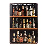 WINOMO Cartel de chapa vintage Beers Of The World