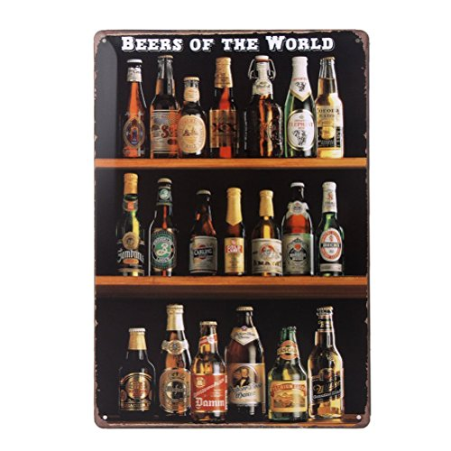 winomo Beers of the world Vintage Cartel de chapa pared decoración