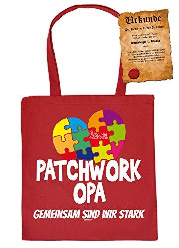 Patchwork Opa - Gemeinsam sind wir stark - Stofftasche Geschenktasche Einkaufstasche Henkeltasche mit Urkunde