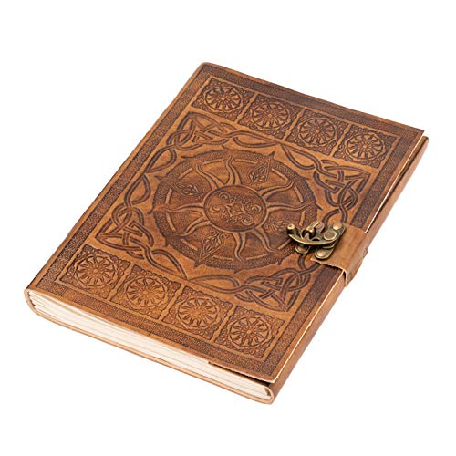 DreamKeeper Journals A4 Leather Journal - Beautiful Celtic Design with Bronze Lock - Ideal as a Diary, Notepad, Sketchbook - Soft Leather Bound Writing Book and Travel Journal for Women and Men