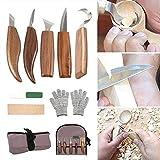 Ensemble d'outils de Sculpture sur Bois, 10 Pièces Couteau à Tailler Couteau à Découper les Copeaux Couteau à Croche Couteau Oblique avec Sac en Toile