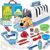 STAY GENT Maletín Veterinario Juguete, Medicos Doctora Juguete de Alimentación Tratando Perrito Veterinaria Accesorios, Mascotas Perros Juegos de rol Juguetes Regalos para Niños Niñas 3 4 5 6 7 Años