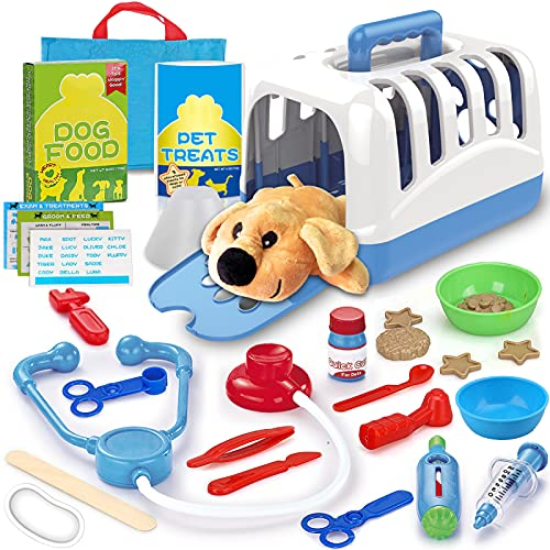 STAY GENT Arztkoffer Kinder, Tierarzt Spielzeug Arzt Rollenspiele für Füttern und Behandeln von Plüschhunden, Lerngeschenke für Jungen und Mädchen im Alter von 3-7 Jahren