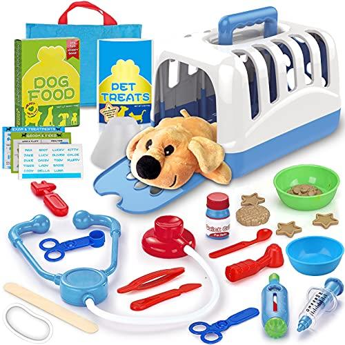 STAY GENT Valigetta Dottoressa Peluche per Bambini, Set Veterinario Giocattolo per Alimentazione e Cura del Cane, Regali di Apprendimento per Ragazzi e Ragazze dai 3 ai 7 Anni