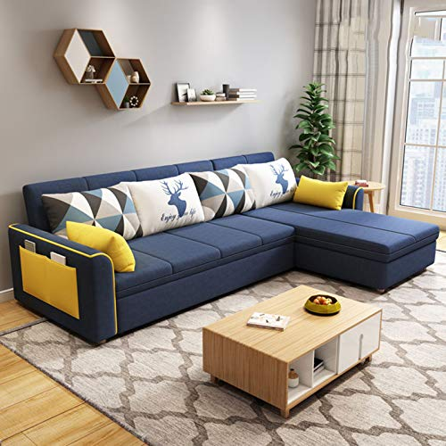 SND-A Sleeper Sectional Sofa,Sofa Bed with Storage,Sleeper Couch with Pull Out Sofa Bed,3-Seat Corner Sofa-Bed with Side Pocket for Living Room & Apartment,Blue