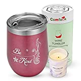 Be Kind Saying Birthday Wine Gift Set for Women 12oz Stainless Steel Wine Tumbler Insulated Double Wall Wine Cup Gift Set with Long Lasting Scented Candle with Lid Package for Friend Wife Daughter