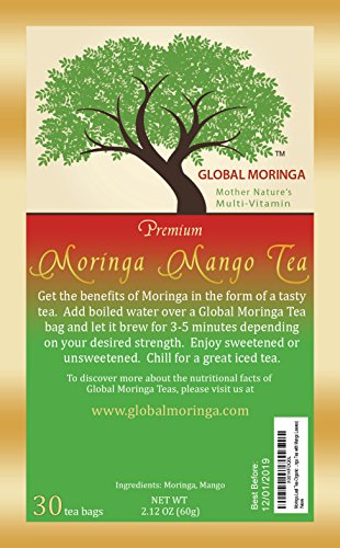 Global Moringa - Delicious Organic Moringa Tea with Mango Leaf Tea (30 Tea Bags) Ghana Grown, American Seller