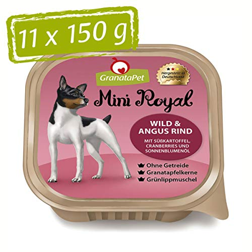 GranataPet Mini Royal Wild & Angus Rind, Nassfutter für Hunde, Hundefutter ohne Getreide & ohne Zuckerzusatz, Alleinfuttermittel für ausgewachsene Hunde, 11 x 150 g
