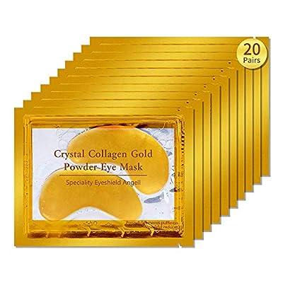 20 Pair Crystal Collagen 24k Gold Under Eye Gel Pad Face Mask Wrinkle Anti Ageing Wrinkle Premium Crystal Gold EYE Mask Crystal Bi Moisturiser for Under Eye Wrinkles, by Ardisle
