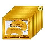 20 Pair Crystal Collagen 24k Gold Under Eye Gel Pad Face Mask Wrinkle Anti Ageing Wrinkle Premium Crystal Gold EYE Mask Crystal Bi Moisturiser for Under Eye Wrinkles,